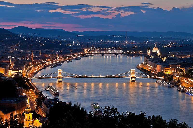 View of the Danube and Parliament, Budapest, Hungary