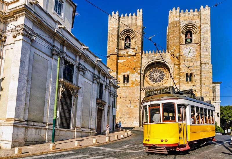 Tram 28 and the Lisbon Cathedral, Lisbon, Portugal